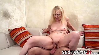 Blonde GILF with saggy tits Nanney banged by wood hard cock