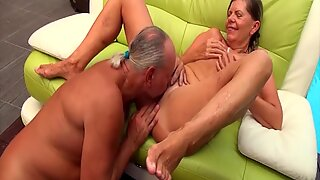 sexy skinny german pigtailgranny gets rough doggystyle big cock fucked by her husband