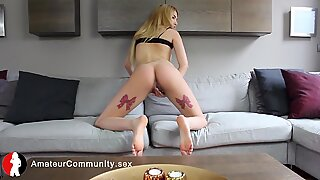 Blonde eurobabe teases her pussy for sextape