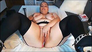 BBW Latina MILF In Stockings Masturbates