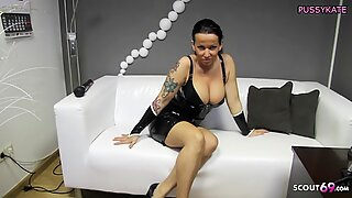 German Mom in Latex Give Domination Dirty Talk with Orgasm