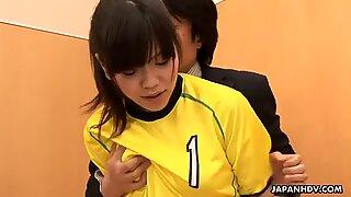 Sexy soccer girl enjoys a nasty threesome