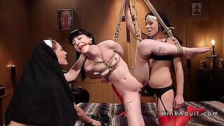 Nuns double penetrating brunette lesbian