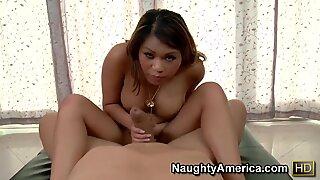 Chubby Asian whore fucks and sucks hard her guy!