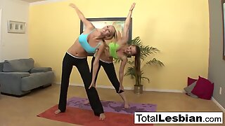 Cute yoga girls Brett & Dani pleasure each other