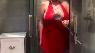 Annabel   s Red Satin Halter Neck Negligee Shower Play