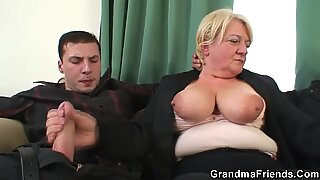 Boozed granny double penetrated