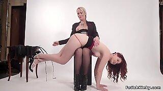 Milf lesbian spanks and anal fucks babe