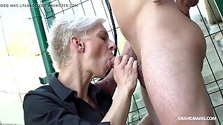 FEMDOM Skinny Granny Fucks Twink Slave in Public