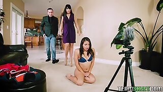 Mercedes Carrera and her husband fuck the babysitter