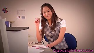 Asian teen toyed in the workplace pov style