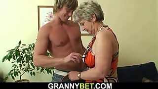 Old woman pleases well-hung young dude
