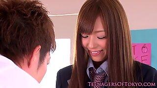 Bossy Jap schoolgirl gets pussy pleasured