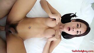 Hello LadyBoy - Petite Thai ladyboy takes big white cock