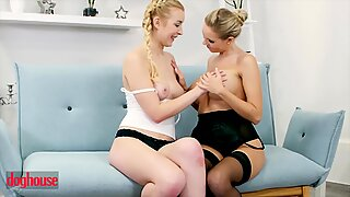 Doghouse - Cute Blonde Lesbian Eats out her first MILF