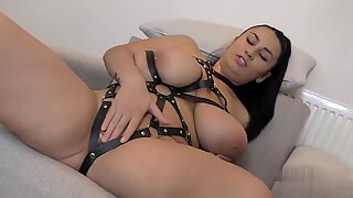 Big Tits Latina BBW in Leather Straps Pleasures Shaved Pussy