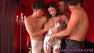 Bigtitted asian mom takes on three dicks and moans