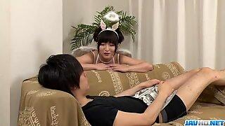 Maria Kotobuki loves having her shaved pussy well stimulated