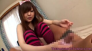 Nippon girlfriend jerking cock with sleeve