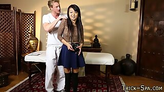 Conned asian massaged cum