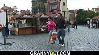 He picks 70 years elderly brown-haired granny from the street