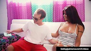 MexiMilf Gabby Quinteros Gets Her Bushy Box Banged On Couch!