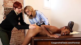Sexy ebony cop fucks her two coworkers