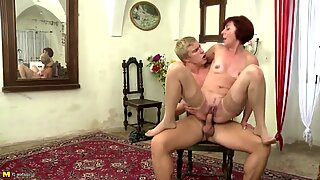 Mature mother blow and bang her youthful pupil boy