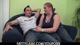 Big belly plumper seduces car driver