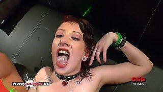 Little Linda the sex Kitty gets her pretty face jizz glazed - German Goo gals