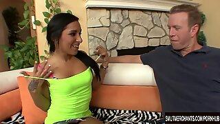Small tittied brunette Kim Kennedy takes fat dick