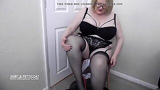 My big tits Granny removes her see through petticoat