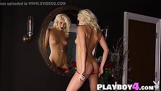 Beautiful blonde model having fun in photo session