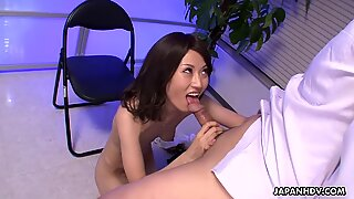 Asian babe blowing cock at the officeReport this video