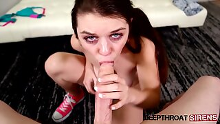 Teen Anastasia Rose Deepthroating And Swallowing Cum
