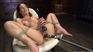 Tied busty mature lady machine fucked