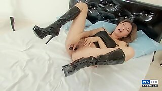 Kinky Asian babe is taking off clothes and masturbating
